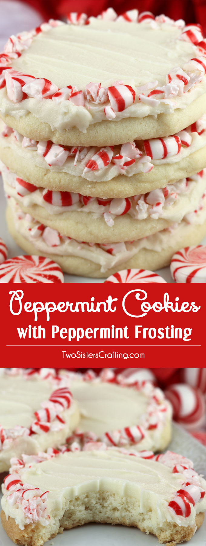 Peppermint Cookies with Peppermint Frosting - this light and buttery peppermint cookie topped with delicious peppermint frosting is a wonderful Christmas cookie recipe. This unique and tasty Christmas treat would be great Christmas dessert idea for a potluck dinner, a Holiday bake sale or a Christmas Cookie exchange. Pin this easy Holiday cookie recipe for later and follow us for more great Christmas Food ideas. #ChristmasCookies #ChristmasDesserts #ChristmasTreats