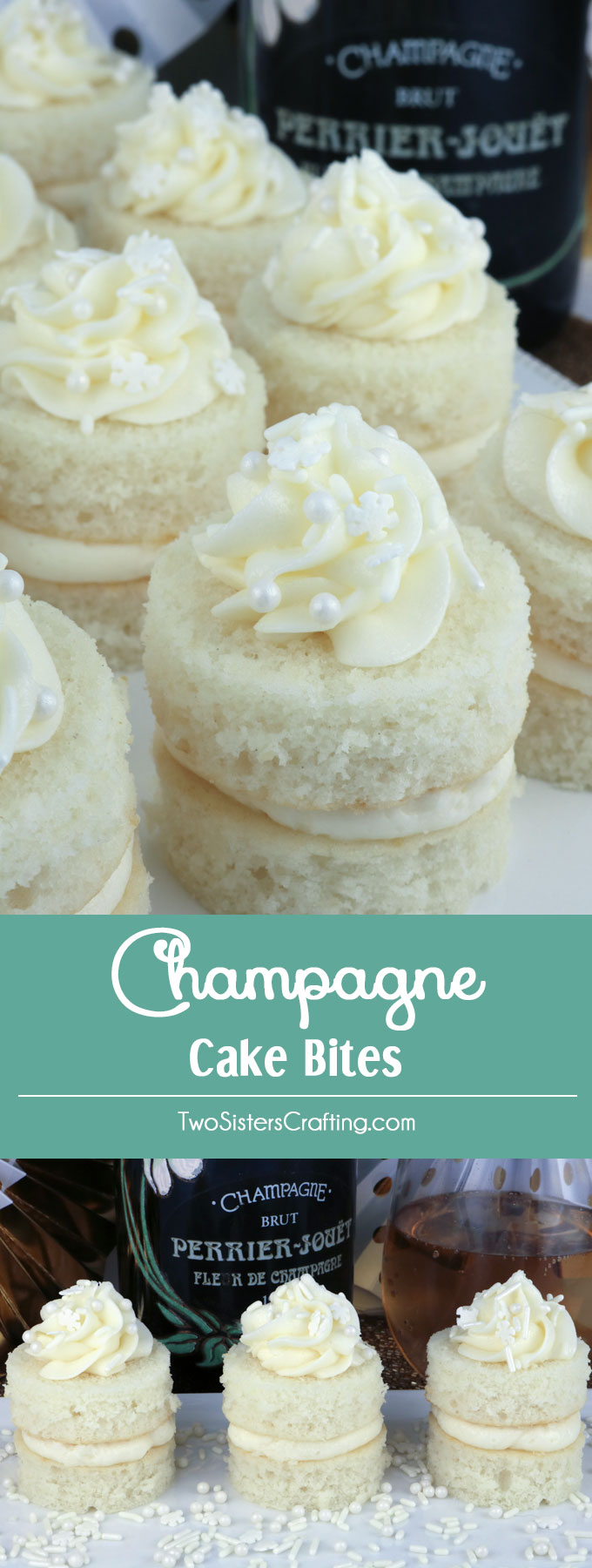 Champagne Cake Bites - a unique take on a traditional cupcake this fun dessert will wow the guests at your next party or grown-ups only family get-together.  A great dessert idea and a unique take on a cupcake. Super easy to make, they will be a big hit on your Christmas dessert table or at your New Year's Eve Party. Pin this fun Holiday treat for later and follow us for more Christmas food ideas. #ChristmasDesserts #ChristmasTreats #NewYearsEveFood