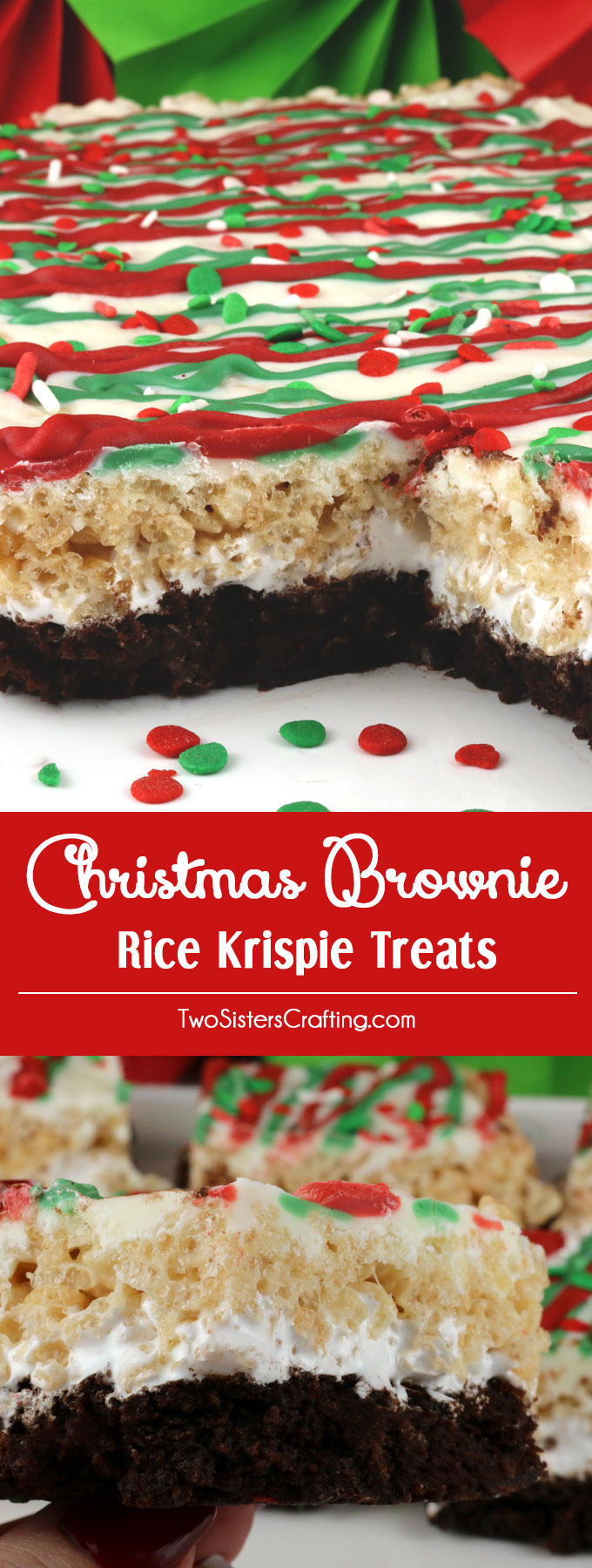 Christmas Brownie Rice Krispie Treats - your family will love these festive Holiday themed layered dessert bars featuring Brownies and Rice Krispie Treats. These colorful and festive Christmas Treats will be a fun addition to your Christmas baking list. These pretty and yummy Rice Krispie Treats are perfect for a Holiday Party or a family get-together. Pin this great Christmas dessert for later and follow us for more fun Christmas Food Ideas. #ChristmasDesserts #ChristmasTreats #ChristmasCookies #ChristmasFood #Brownies #RiceKrispieTreats