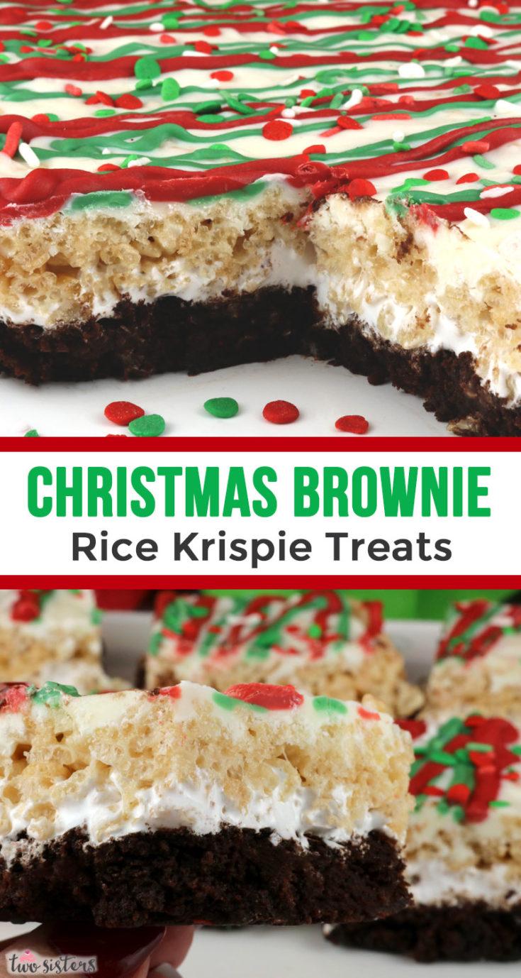 Christmas Brownie Rice Krispie Treats Two Sisters