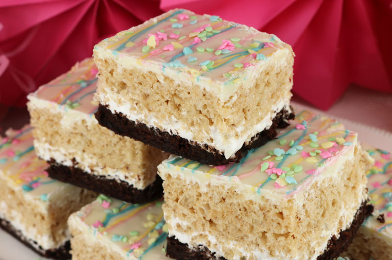 Springtime Brownie Rice Krispie Treats Two Sisters