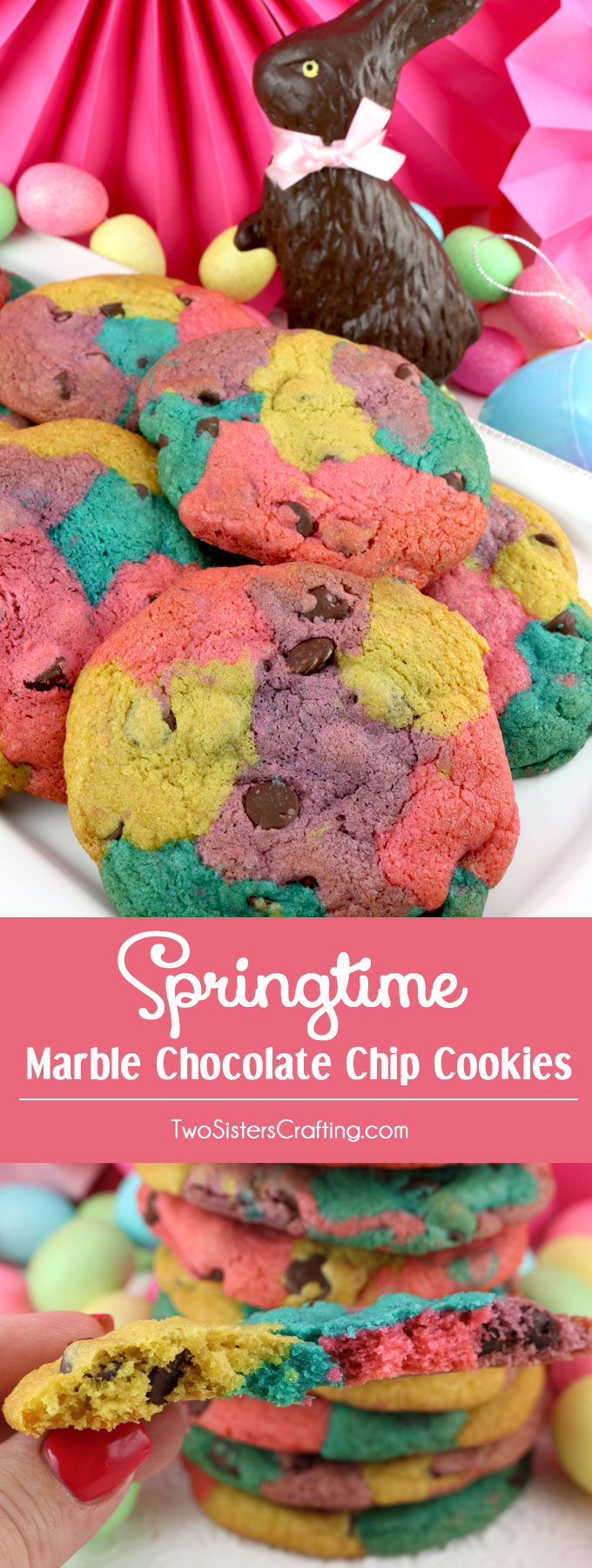 Springtime Marble Chocolate Chip Cookies Two Sisters