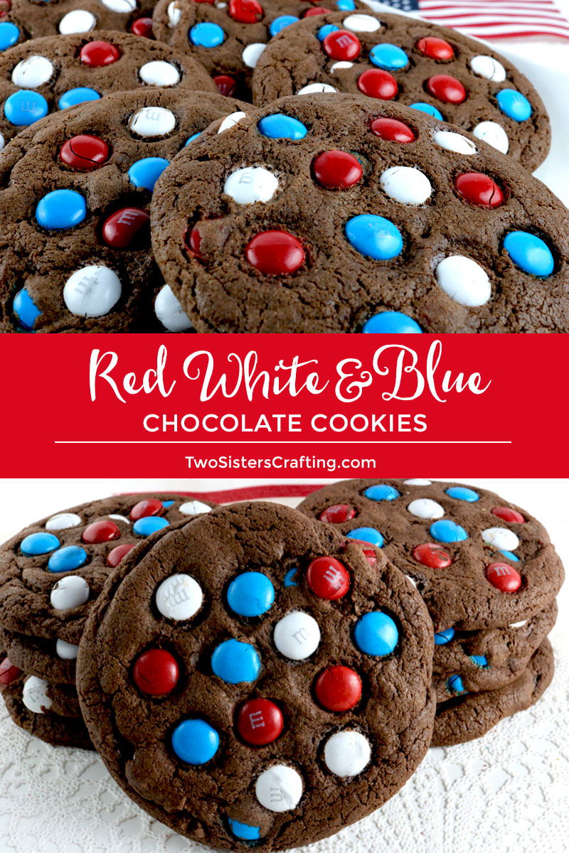 Red White And Blue Chocolate Cookies Two Sisters