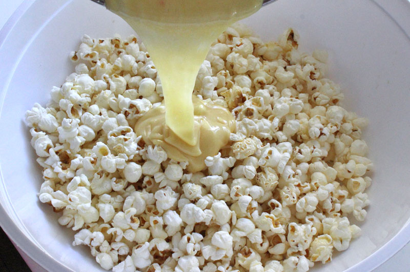 Add Marshmallow Mixture To The Popcorn