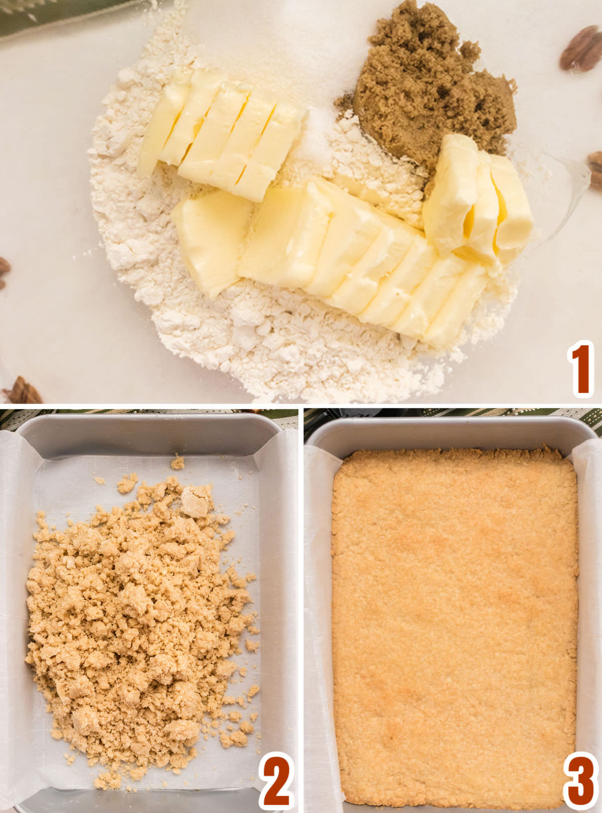 Collage image showing the steps for making the cookie crust for the Pecan Pie Bars.
