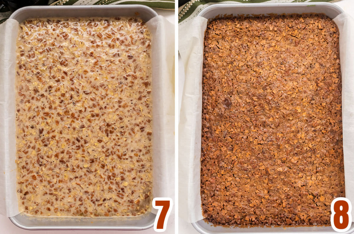 Collage image showing the Pecan Pie Bars before going in the oven and when they come out of the oven.